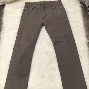 Levis Dark Gray 513 Slim Straight Fit Denim Jeans